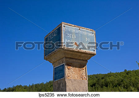 Stock Image of BOUNDARY STONE FOR DROME AND VAUCLUSE DEPARTMENTS.