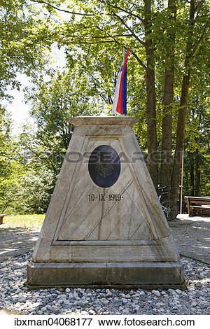 """Picture of """"Boundary stone at the border triangle of Slovenia."""