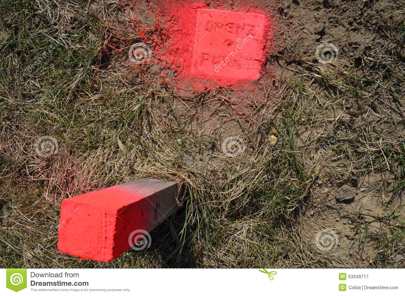 Land Survey. Boundary Stone Marked With Neon Colour Stock Photo.