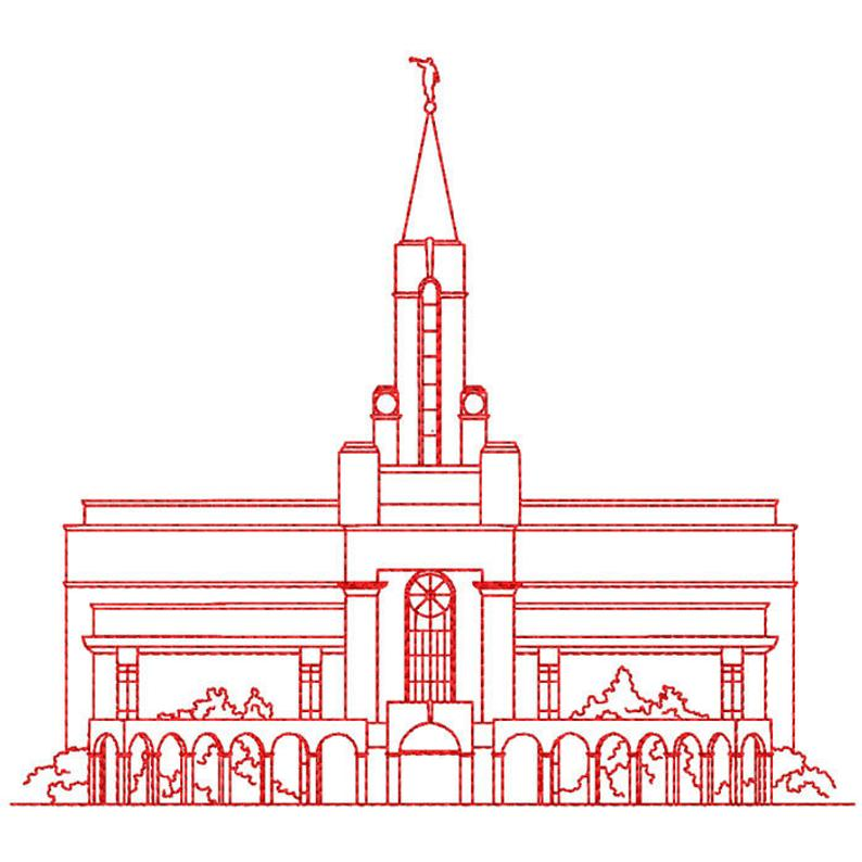 Bountiful Utah LDS Temple, Redwork Embroidery Design, digital instant  download file..