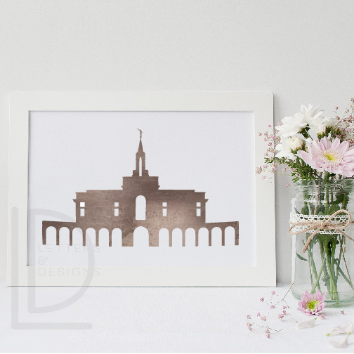Bountiful Temple Watercolor Wall Art.
