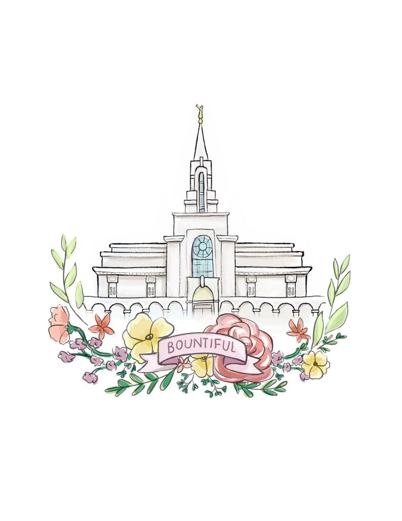 Bountiful Utah LDS Temple, Latter Day Saint, Mormon, Wedding gift, Relief  Society, Flower wreath, watercolor painting, printable wall art.
