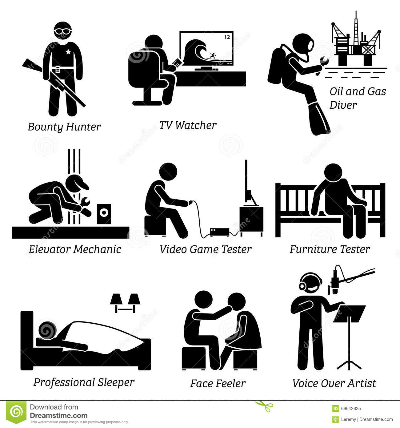 Weird Unusual Odd Jobs And Occupations Clipart Stock Vector.
