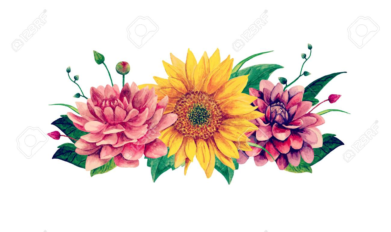 Watercolor bouquet clipart with Handpainted flowers Vector illustration..