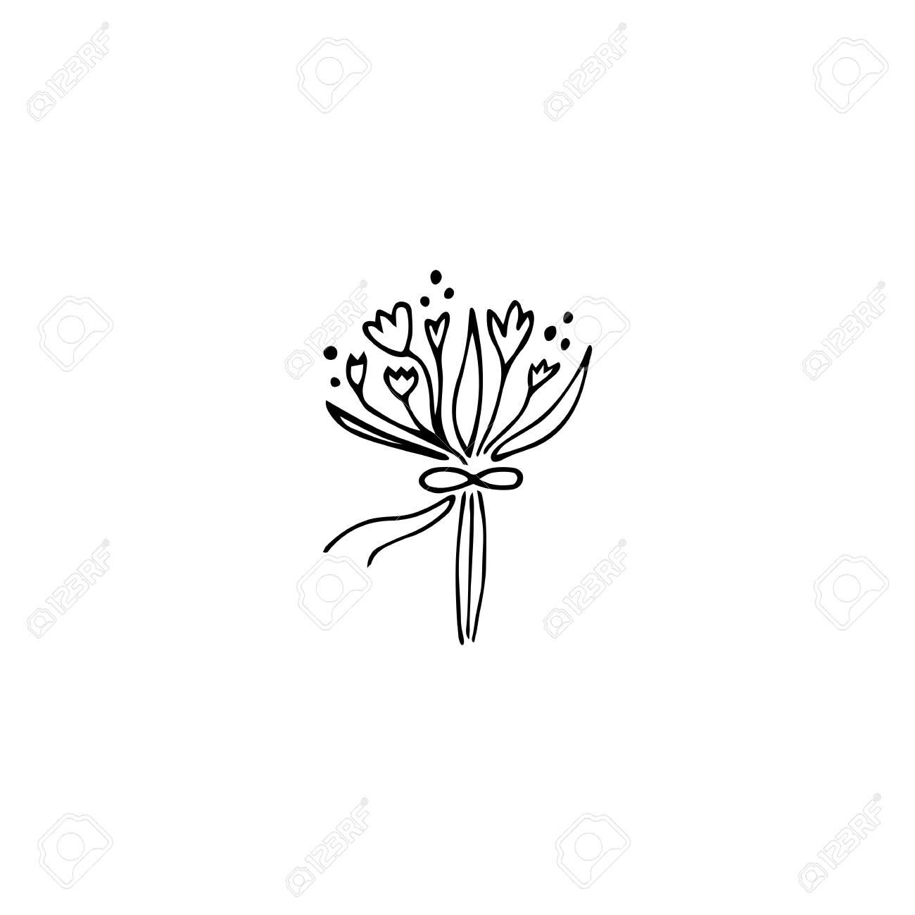 Vector hand drawn object, flower bouquet. Feminine logo element,...