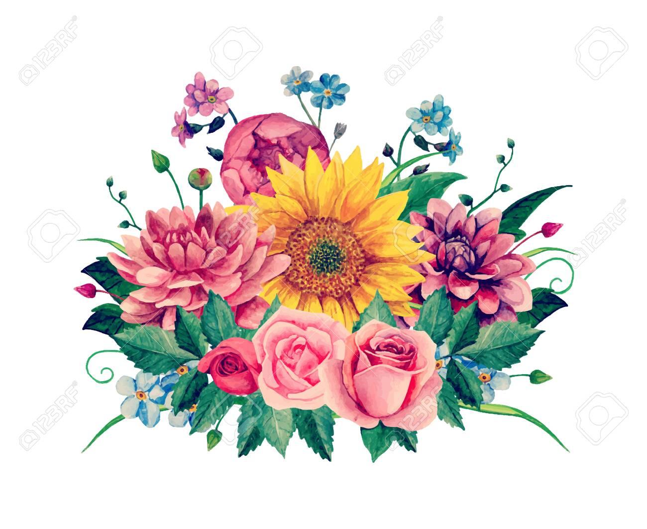 Watercolor floral bouquet clip.