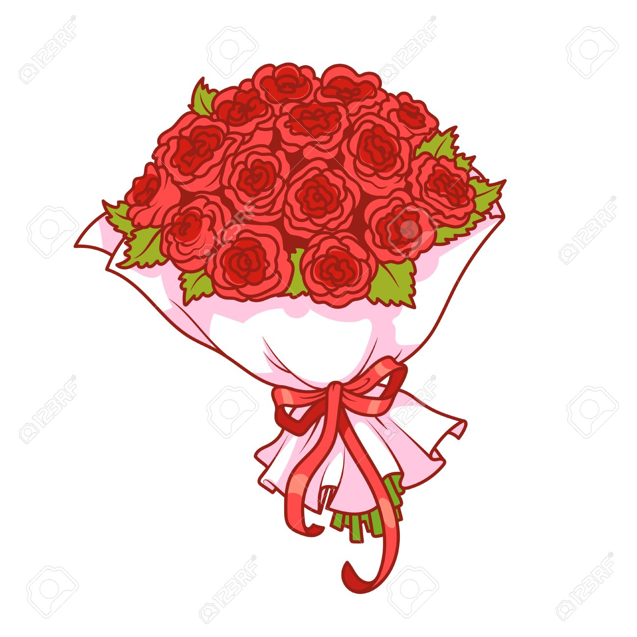 Bouquet of red roses isolated on white background. Vector clip.