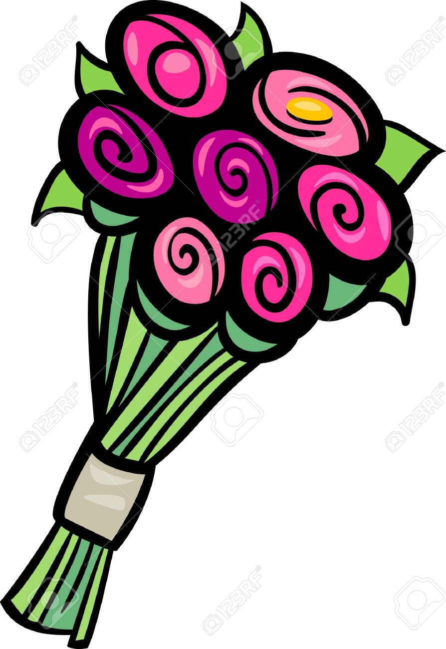 Cartoon Illustration Of Flowers Bunch Or Bouquet Clip Art Royalty.