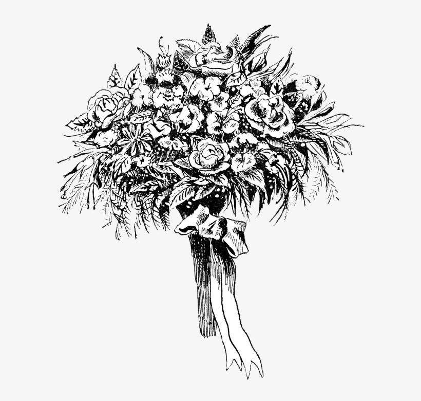 Black Flower Bouquet Clip Art Desktop Wallpaper.