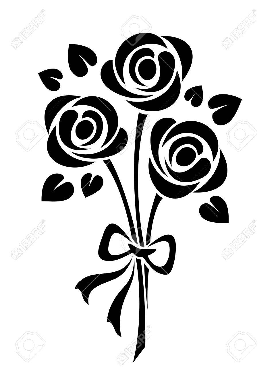 Vector black silhouette of roses bouquet isolated on a white...