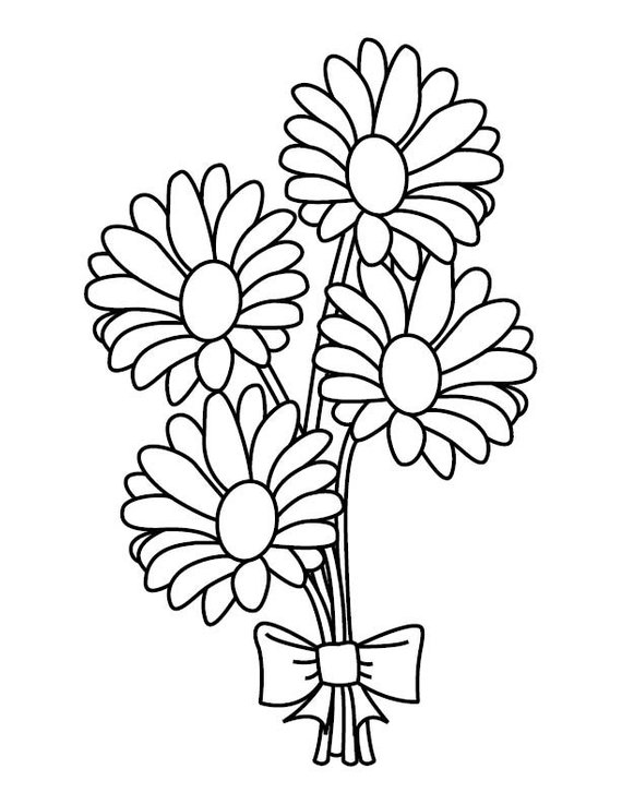 Daisy Bouquet Coloring Page.