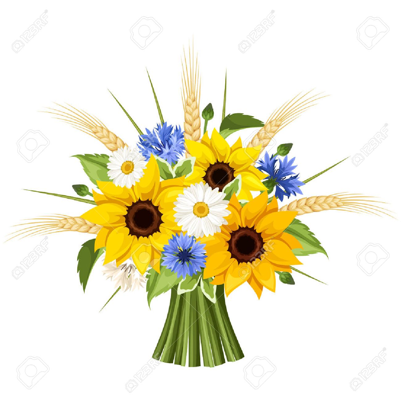 Bouquet of sunflowers, daisies, cornflowers and ears of wheat.