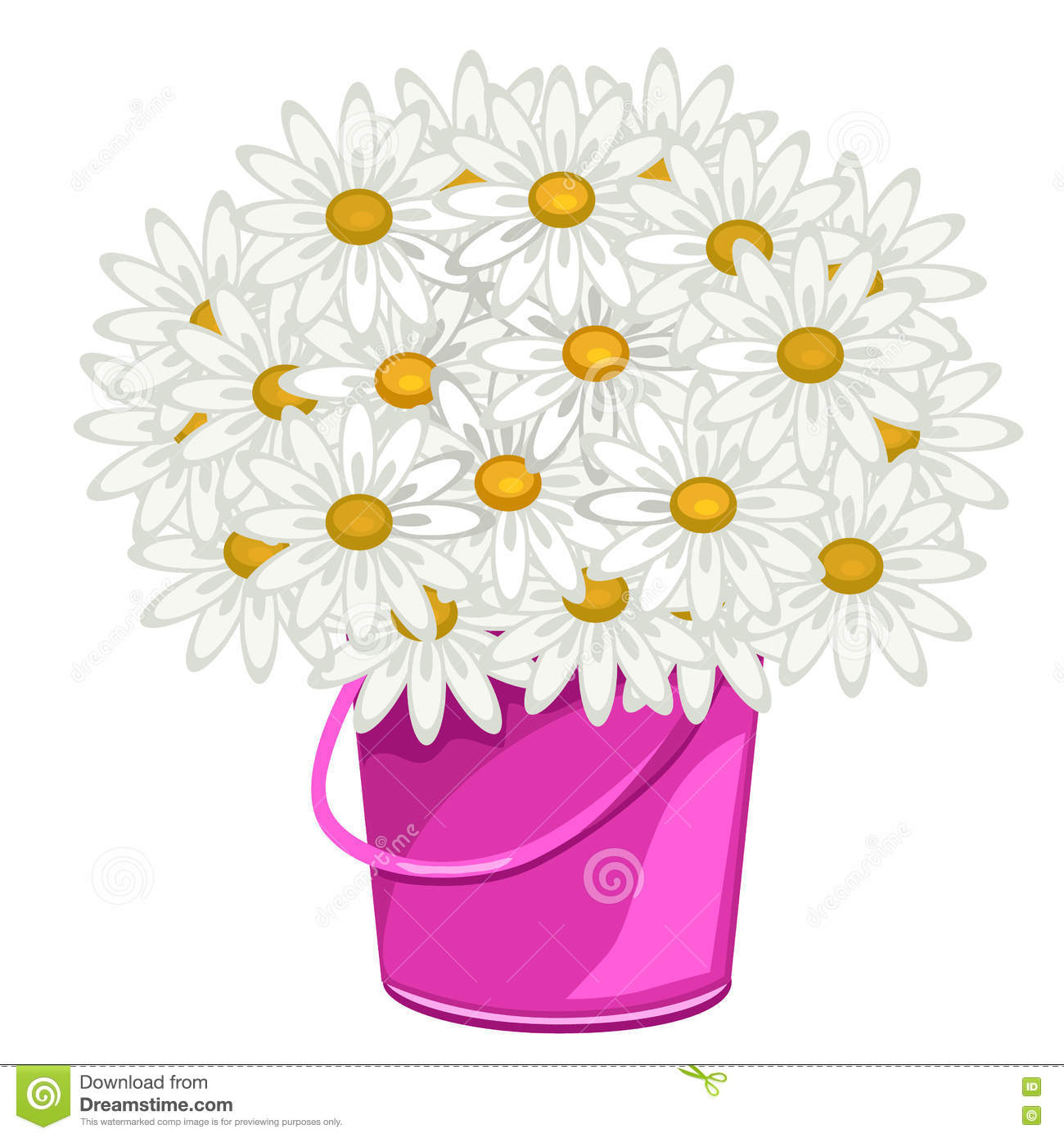 Large Bouquet Of Daisies In Pink Pot, Flowers Stock Vector.
