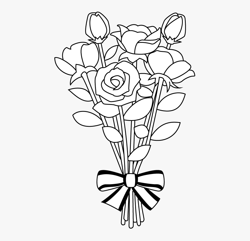 Flower Bouquet Clipart Library Black And White.