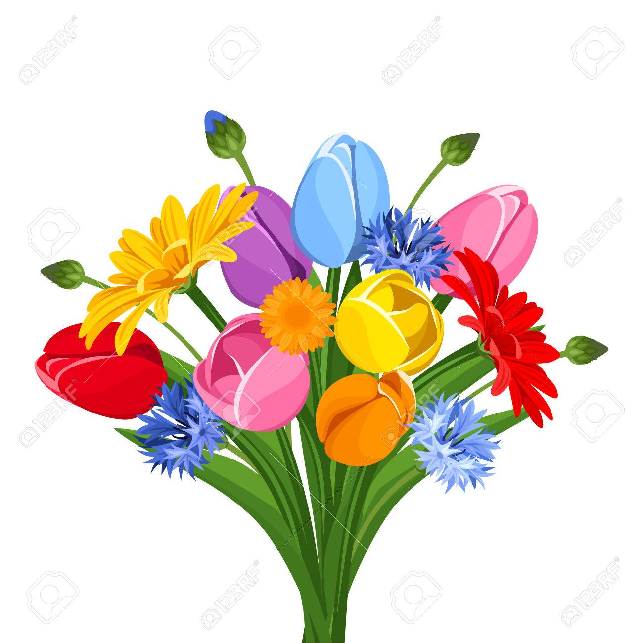 Bouquet of colorful tulips, gerbera flowers and cornflowers.