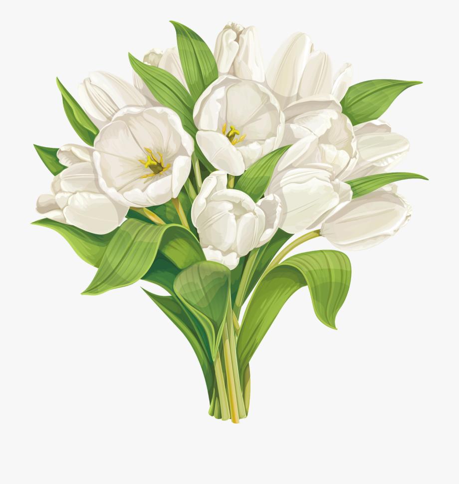 White Flower Bouquet Tulip Clip Art.