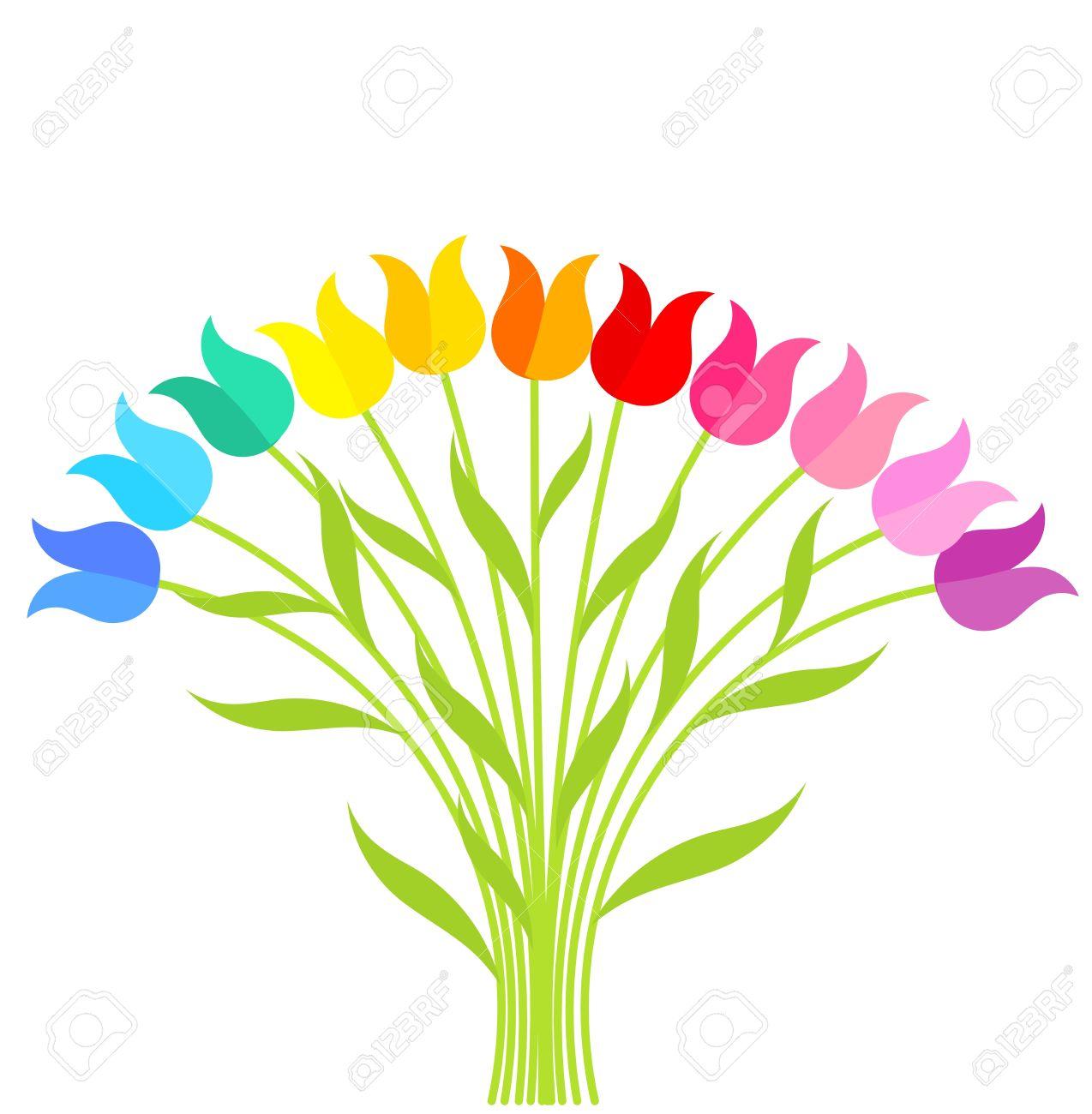 Bouquet of multicolor tulip flowers. Vector illustration.