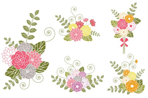 Flower Bouquets Clip Art ~ Illustrations on Creative Market.