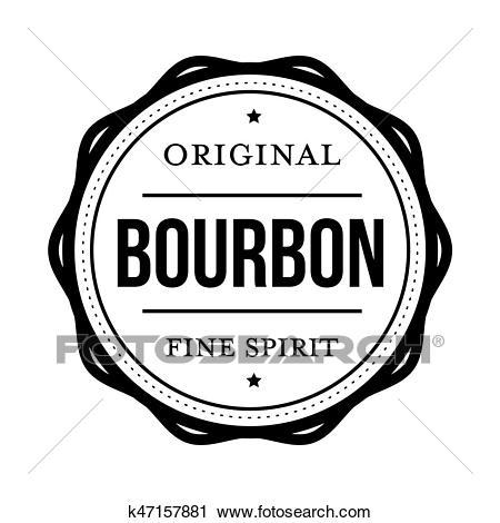 Bourbon vintage stamp sign Clipart.