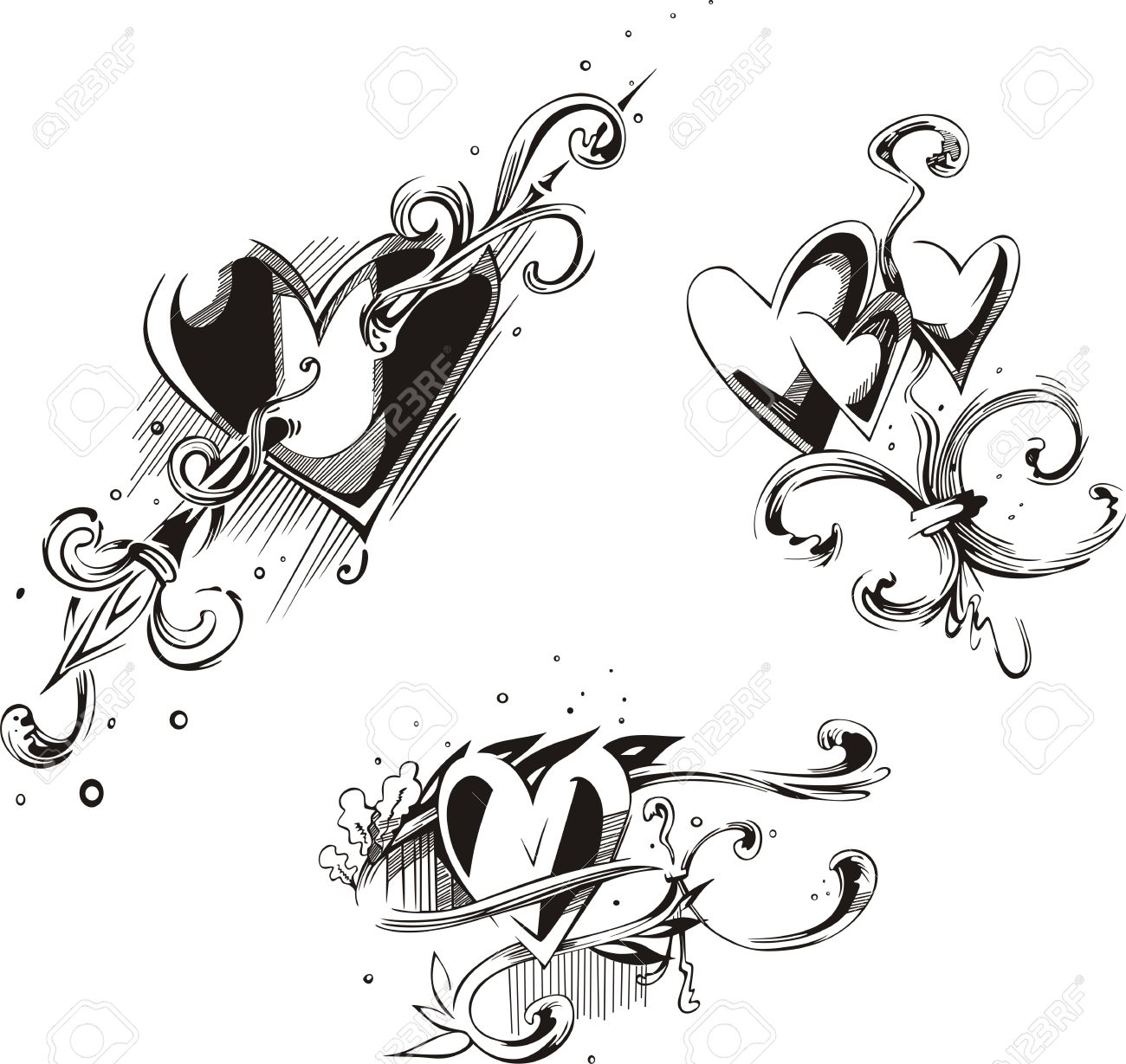 Hearts With French Royal Bourbon Lilies. Vector Set Of Black.