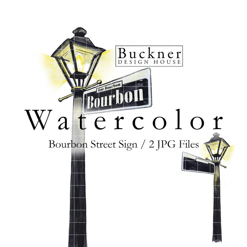 WATERCOLOR Bourbon Street Sign Clipart.