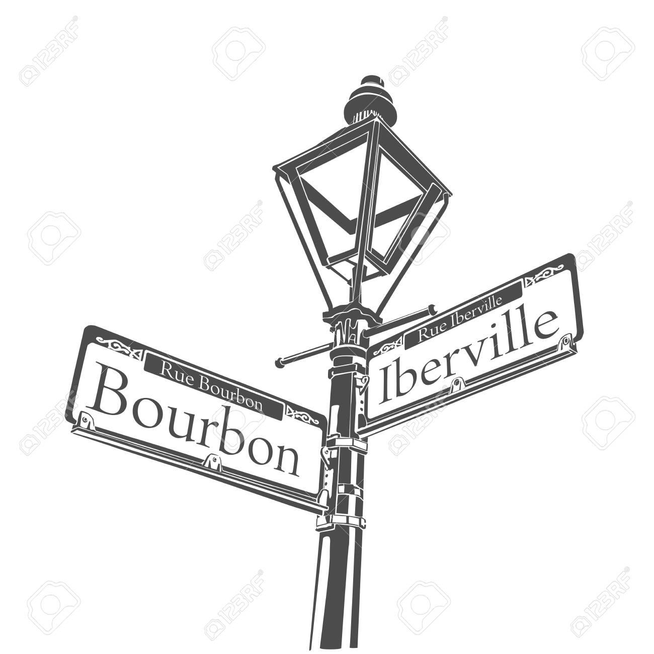 Historic Streetlight Bourbon Street French Quarter New Orleans...