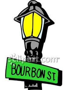 A Lightpost with a Bourbon St. Street Sign Royalty Free.