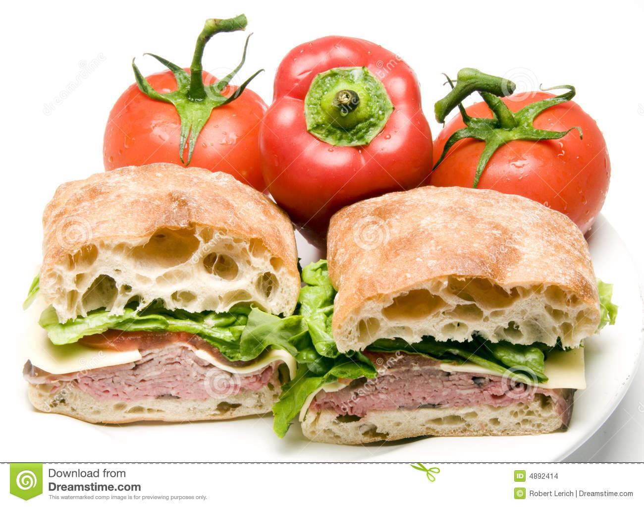 Roast Beef Boursin Cheese Ciabatta Bread Sandwich Stock Images.