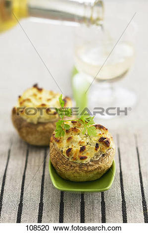 Stock Photography of Mushrooms stuffed with boursin cheese 108520.