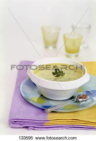 Stock Image of Rocket and Boursin cheese soup 133595.