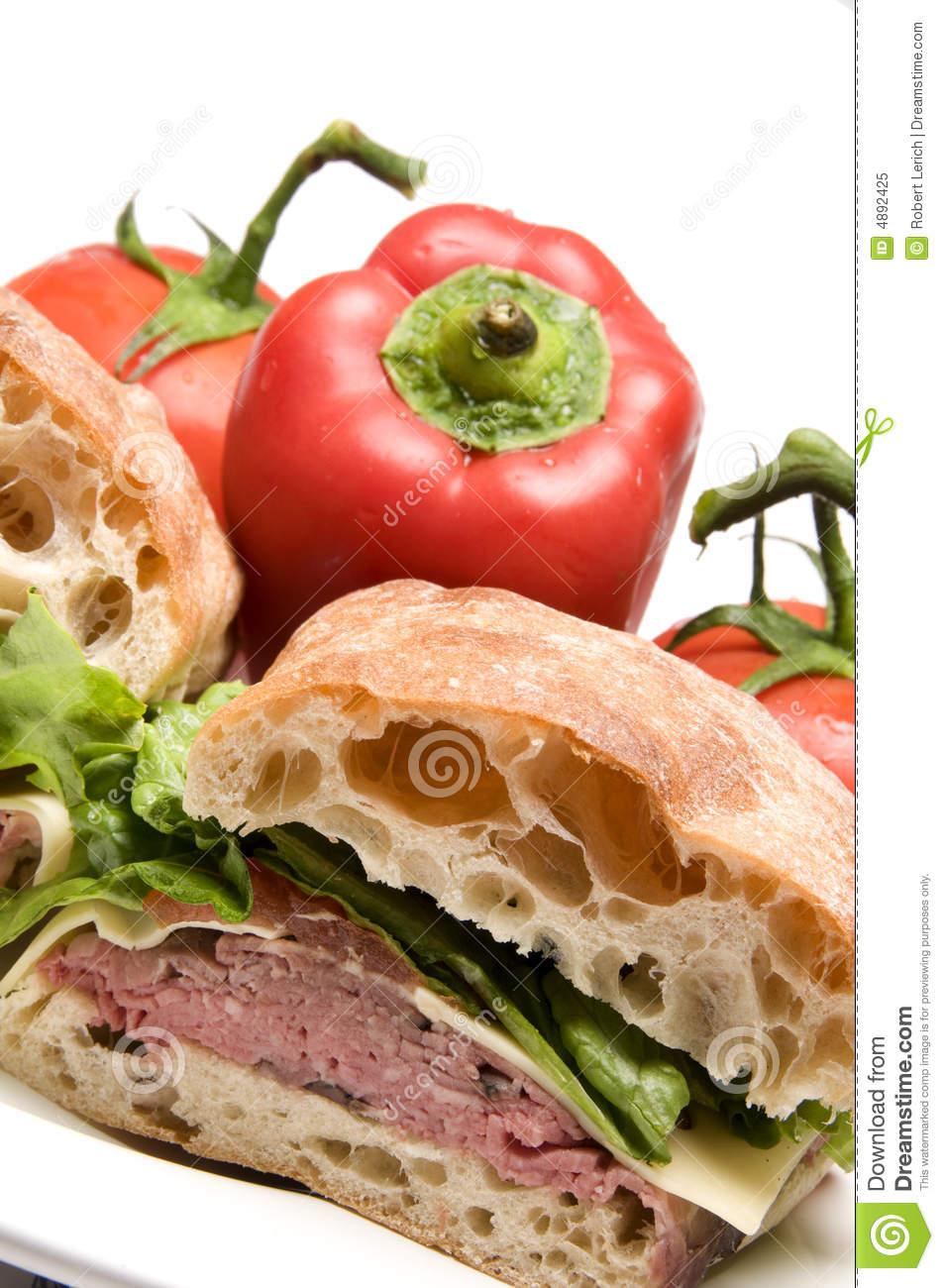 Roast Beef Boursin Cheese Ciabatta Bread Sandwich Royalty Free.