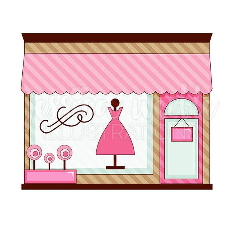Pink Boutique Store Front Cute Digital Clipart, Cute Boutique Clip art,  Shop Graphics, Boutique Illustration, #369.