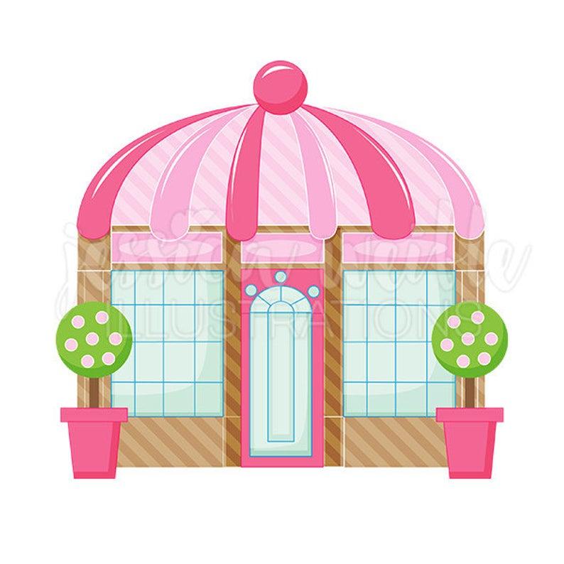 Pink Boutique Store Front Cute Digital Clipart, Cute Boutique Clip art,  Shop Graphics, Boutique Illustration, #378.