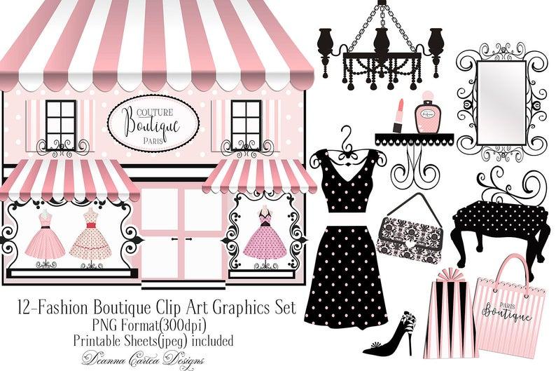 Boutique clip art, paris clip art, dress clip art, card making kit, paris  clip art, fashion clip art, shabby chic clipart, paris invitation.