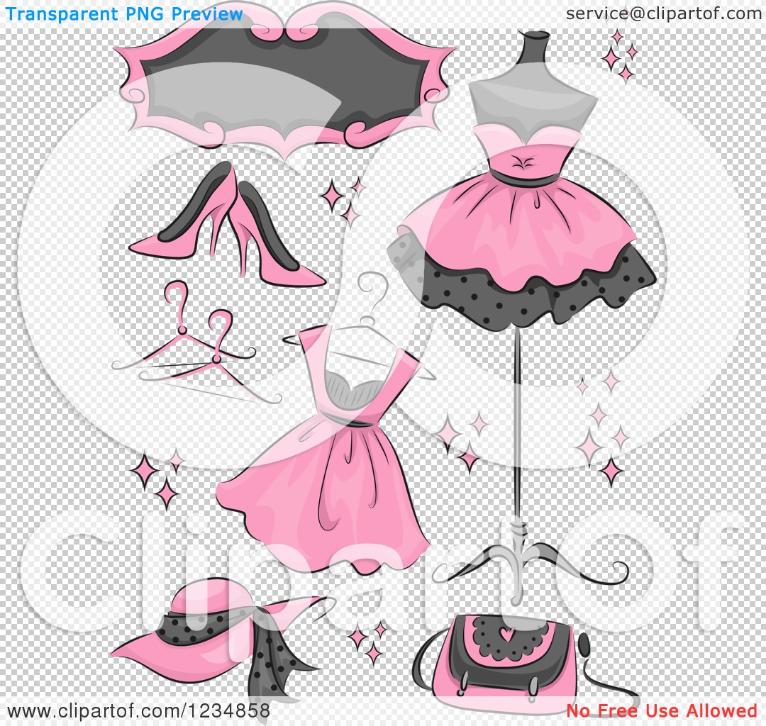 Clipart of Pink Boutique Clothing and Accessories.