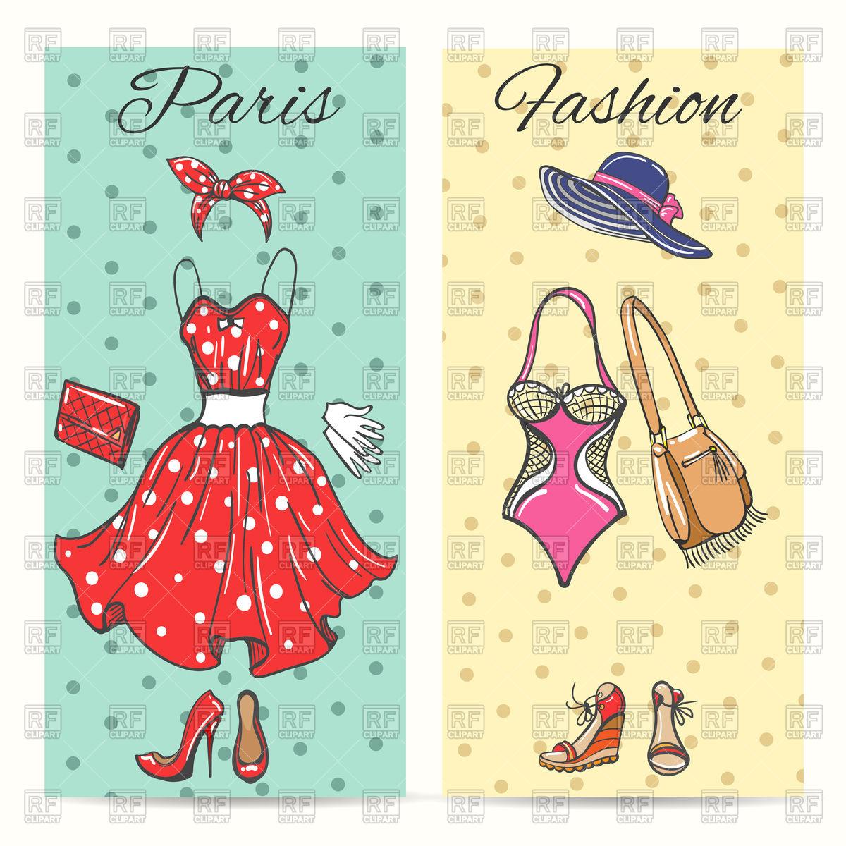 Paris fashion clothes cards for ladies boutique Stock Vector Image.