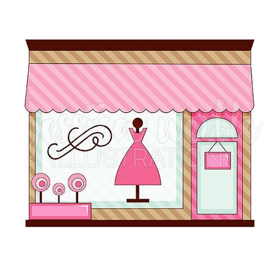 Pink Boutique Store Front Cute Digital Clipart, Cute.