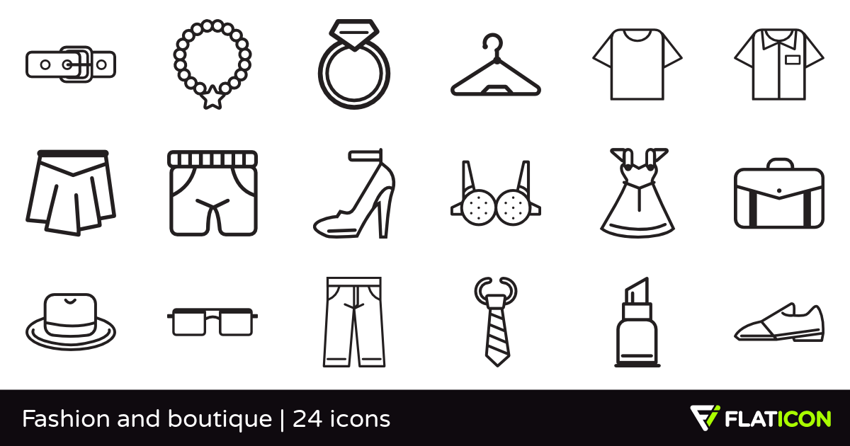 Fashion and boutique 24 free icons (SVG, EPS, PSD, PNG files).