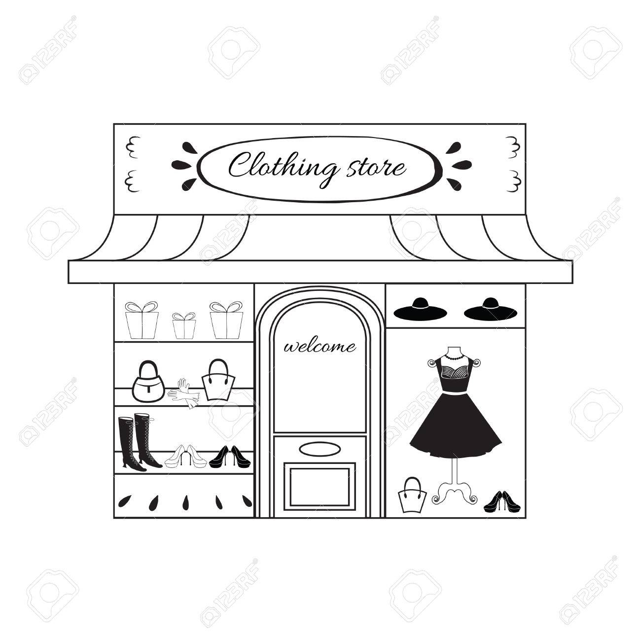 Boutique Clipart Black And White.