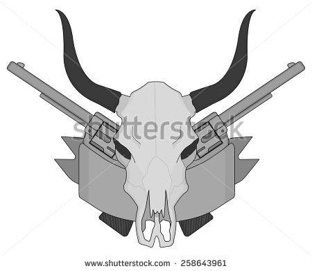 Wild West Cow Skull Pistols Ribbon Stock Vector 241462174.