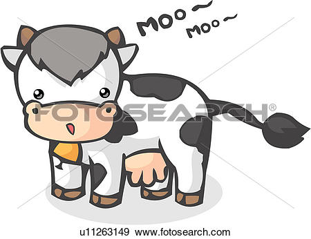 Clip Art of farm animal, livestock, agriculture, tail, bell.