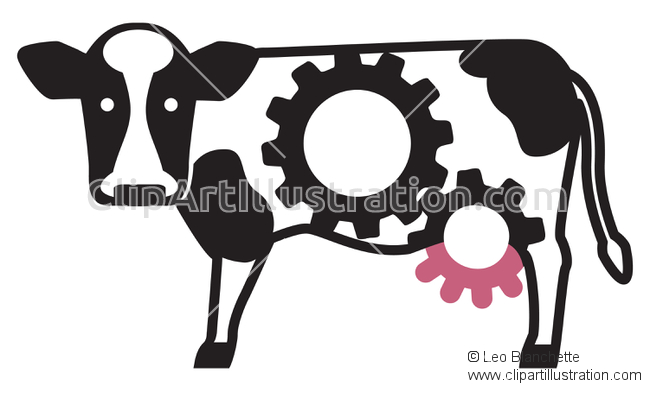 ClipArt Illustration Hardworking Bovine Cow, Udderly Outrageous.
