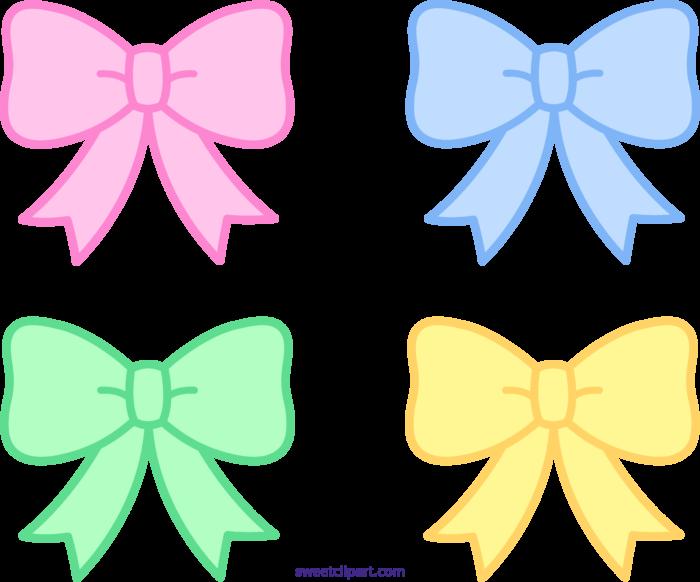 Cute Pastel Bows Ribbons Clipart.