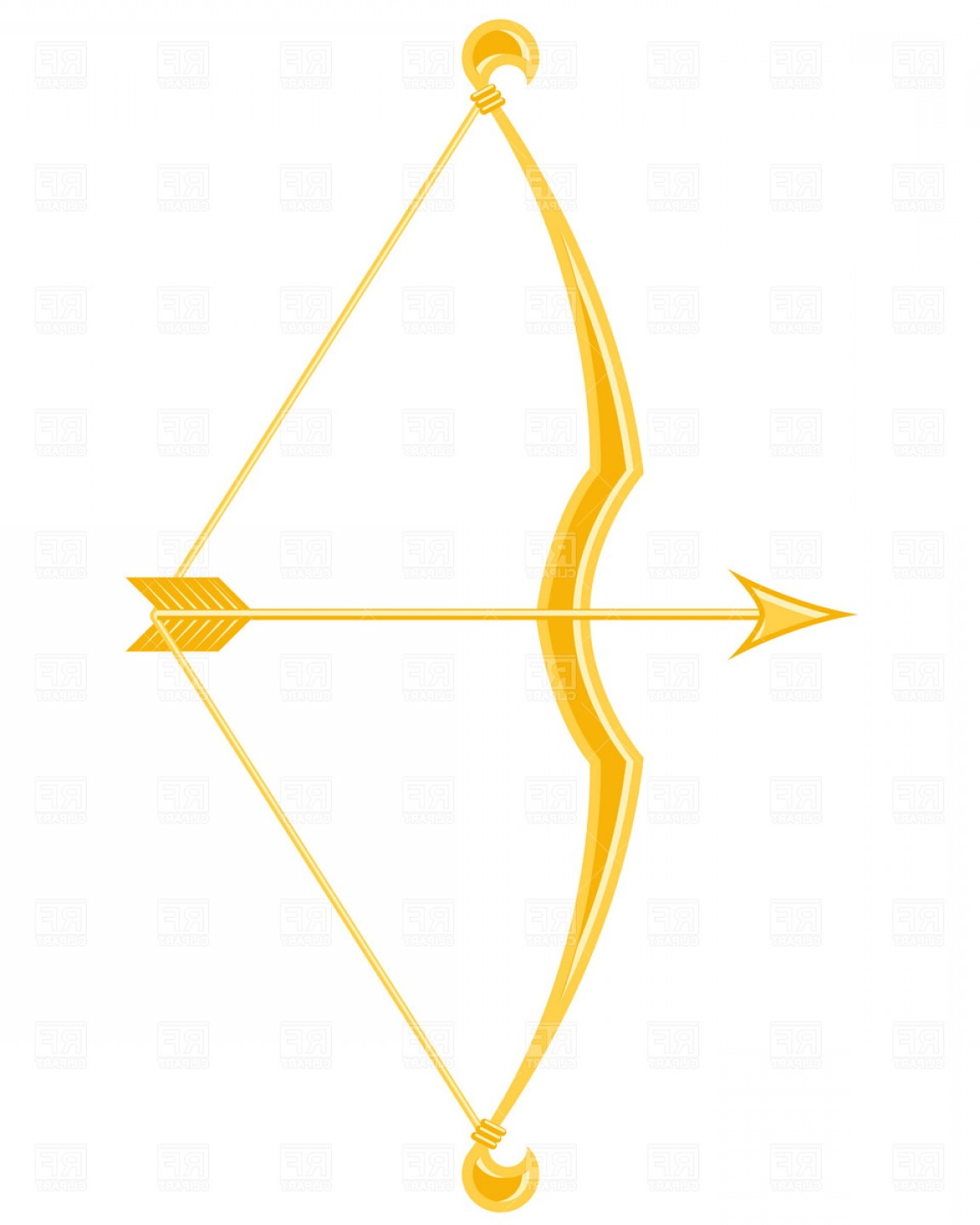Golden Bow And Arrow Vector Clipart.