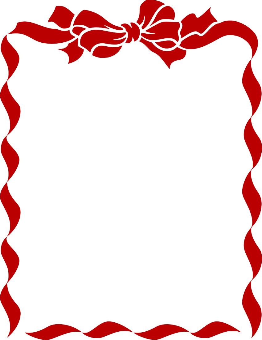 ribbon bow border red.