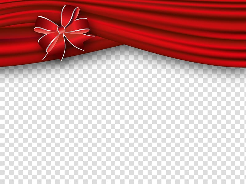 Red curtain with bow border, Banners transparent background PNG.
