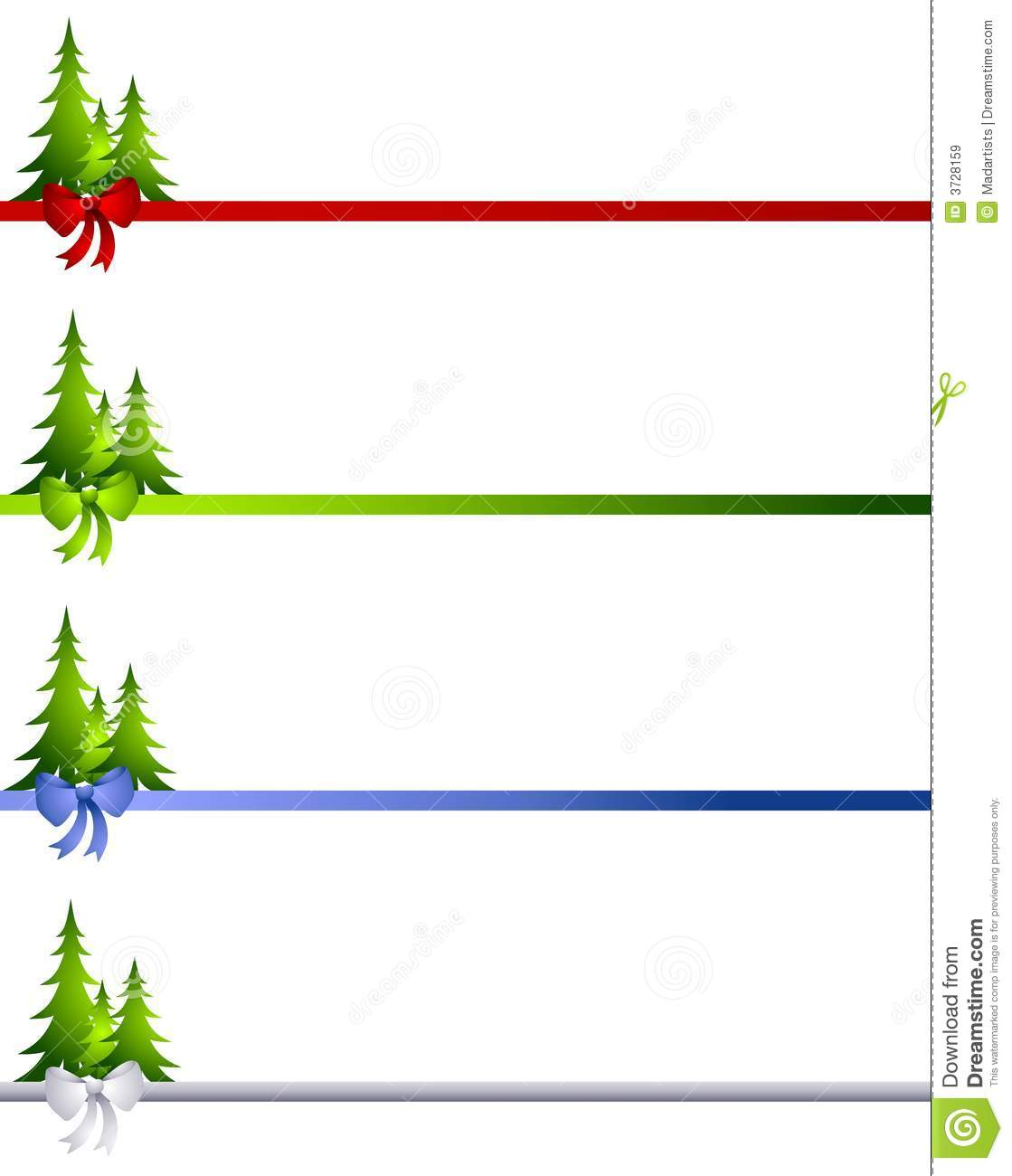 Decorative Christmas Tree Bow Borders Stock Illustration.