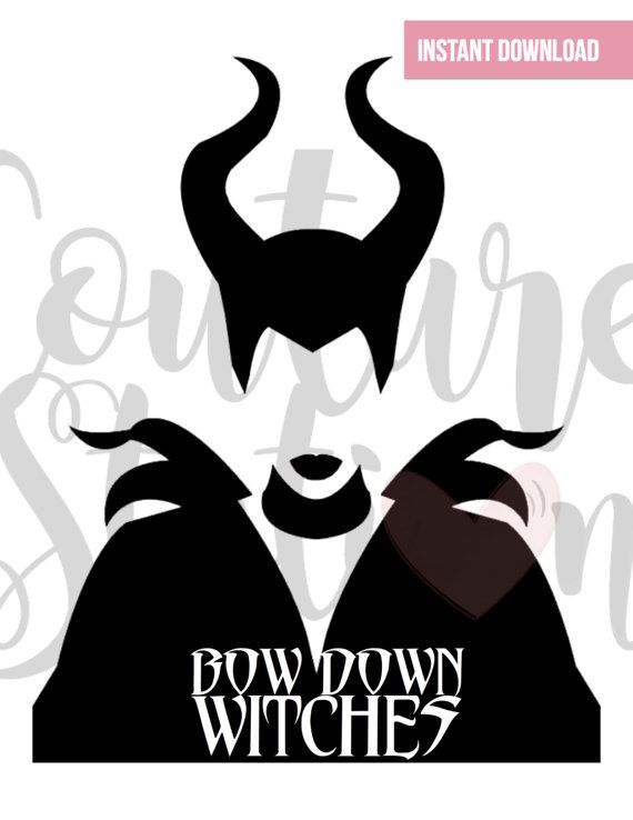 Maleficent Inspired, Bow Down Witches Digital Clipart, INSTANT.