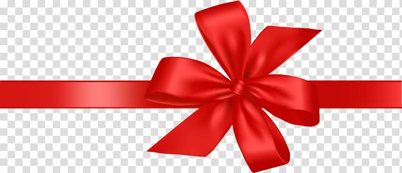 Red ribbon, Gift Ribbon, Festive gift bow transparent.