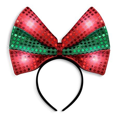 Amazon: Sequin Light Up Green Red Christmas Bow Headband.